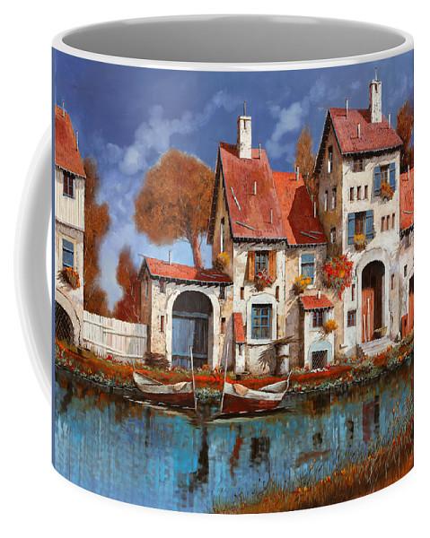 Little Village Coffee Mug featuring the painting La Cascina Sul Lago by Guido Borelli