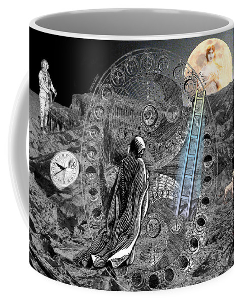 Tarot Coffee Mug featuring the digital art La Luna by Lisa Yount