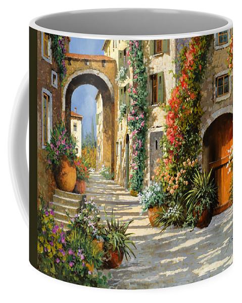 Landscape Coffee Mug featuring the painting La Porta Rossa Sulla Salita by Guido Borelli