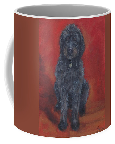 Labradoodle Coffee Mug featuring the painting Labradoodle by Pet Whimsy Portraits
