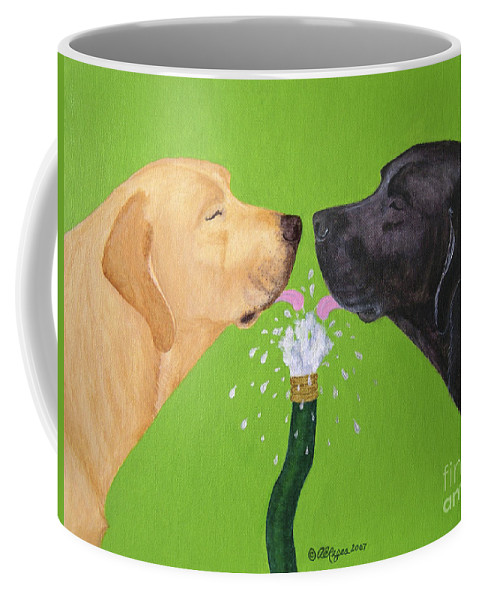 Lab Coffee Mug featuring the painting Labs Like To Share 2 by Amy Reges