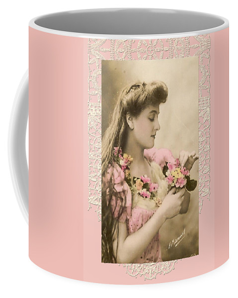 Vintage Coffee Mug featuring the digital art Lace And Poisies Victorian Lady by Denise Beverly