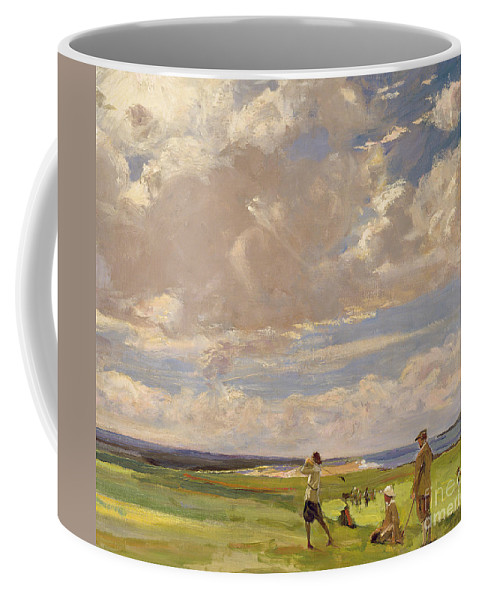 American; Golfing; Links; Golfer; Course; Scottish; Landscape; Clouds; Glasgow Boys; Drive Coffee Mug featuring the painting Lady Astor Playing Golf At North Berwick by Sir John Lavery
