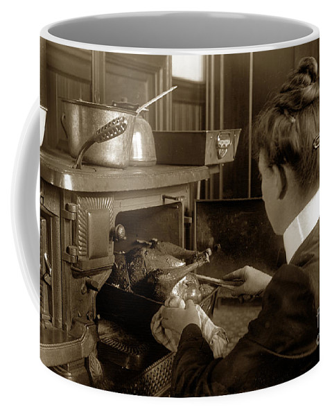 Lady Coffee Mug featuring the photograph Lady In Early Kitchen Cooking Turkey Dinner 1900 by California Views Archives Mr Pat Hathaway Archives