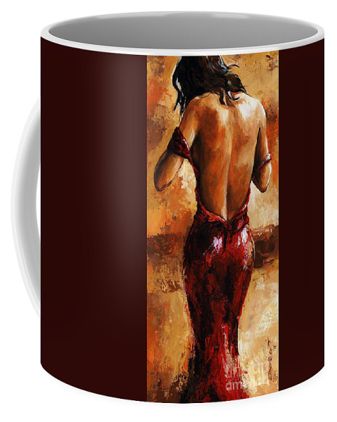 Nude Coffee Mug featuring the painting Lady In Red /24 by Emerico Imre Toth