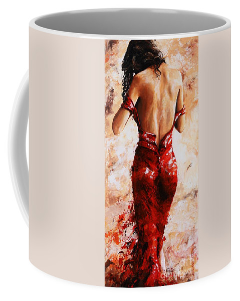 Nude Coffee Mug featuring the painting Lady In Red #24 Large by Emerico Imre Toth