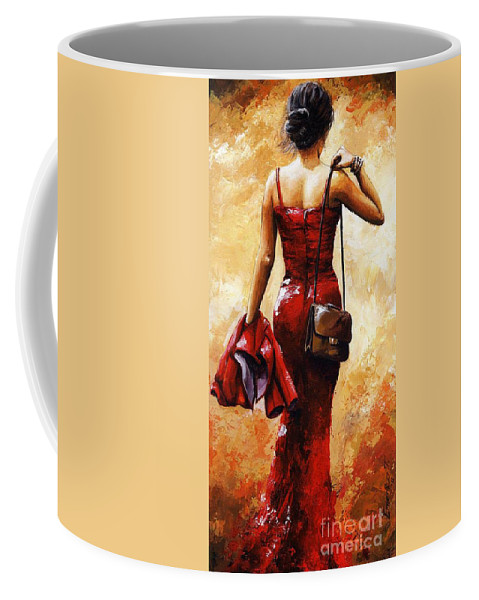 Lady Coffee Mug featuring the painting Lady In Red #25 by Emerico Imre Toth