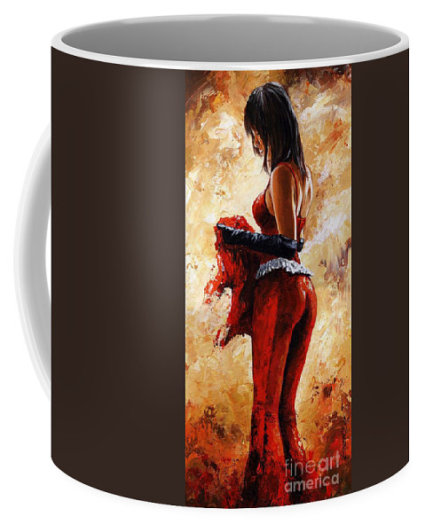 Nude Coffee Mug featuring the painting Lady In Red 26 by Emerico Imre Toth