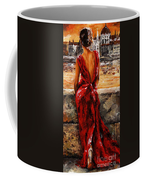 Lady Coffee Mug featuring the painting Lady In Red 34 - I Love Budapest by Emerico Imre Toth