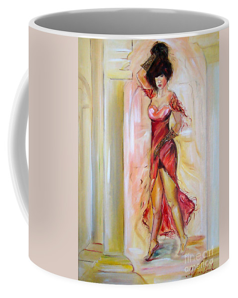Contemporary Art Coffee Mug featuring the painting Lady In Red by Silvana Abel