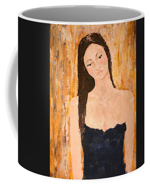Lady Coffee Mug featuring the painting Lady In Waiting by Kathy Peltomaa Lewis