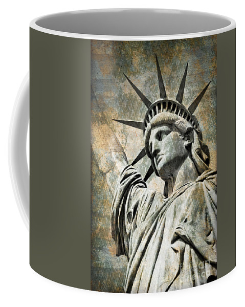 Statue Of Liberty Coffee Mug featuring the photograph Lady Liberty Vintage by Delphimages Photo Creations