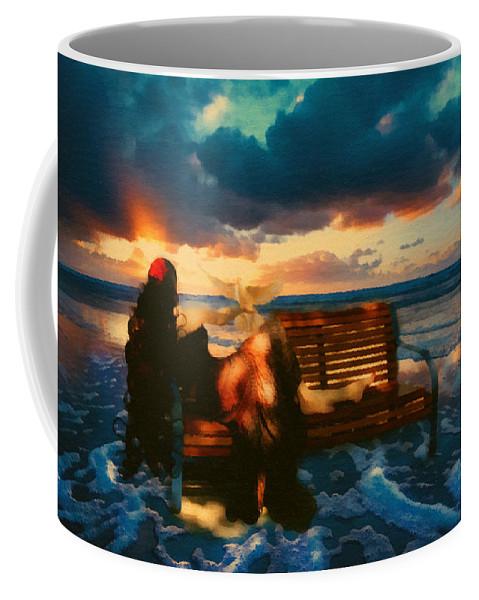 Woman Coffee Mug featuring the mixed media Lady Of The Ocean by Georgiana Romanovna