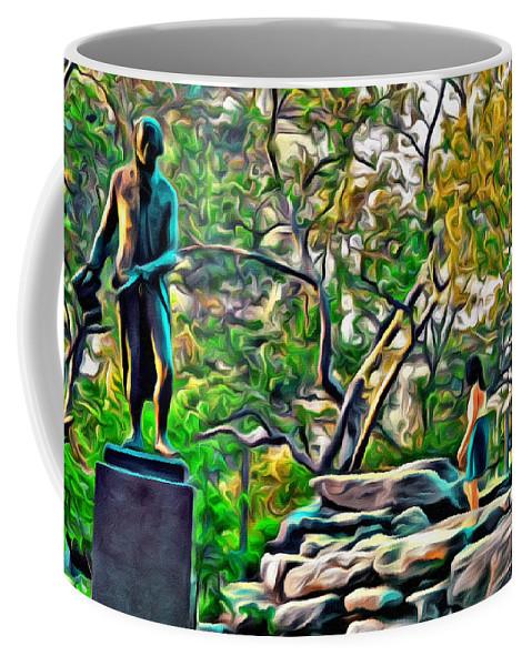 Philadelphia Coffee Mug featuring the photograph Lady On The Rocks by Alice Gipson