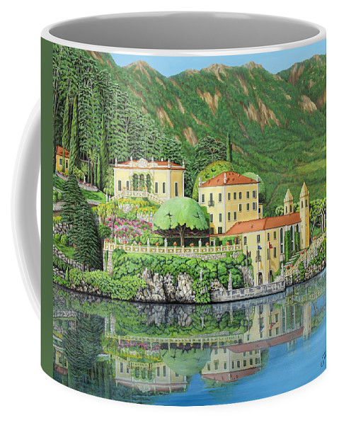 Lake Coffee Mug featuring the painting Lake Como Morning by Jane Girardot