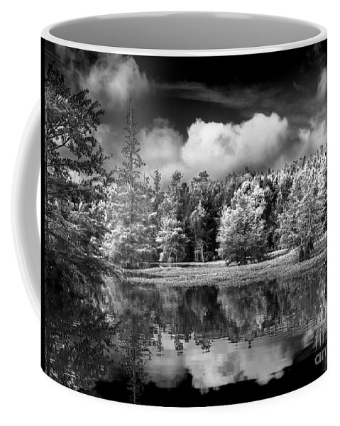 Vernon Lake Coffee Mug featuring the photograph Lake In Black And White One by Ken Frischkorn