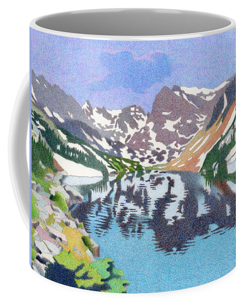 Art Coffee Mug featuring the drawing Lake Isabelle Colorado by Dan Miller
