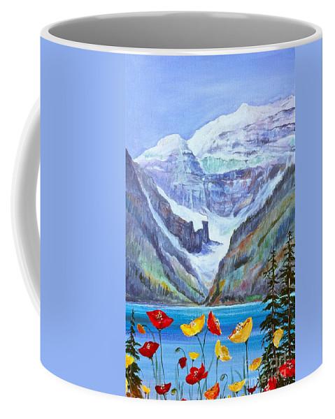 Lake Louise Coffee Mug featuring the painting Lake Louise Poppies by Virginia Ann Hemingson