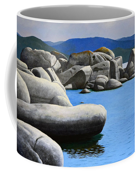 Lake Tahoe Rocky Cove Coffee Mug featuring the painting Lake Tahoe Rocky Cove by Frank Wilson