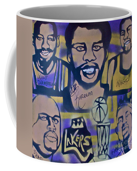 Kobe Bryant Coffee Mug featuring the painting Laker Love by Tony B Conscious