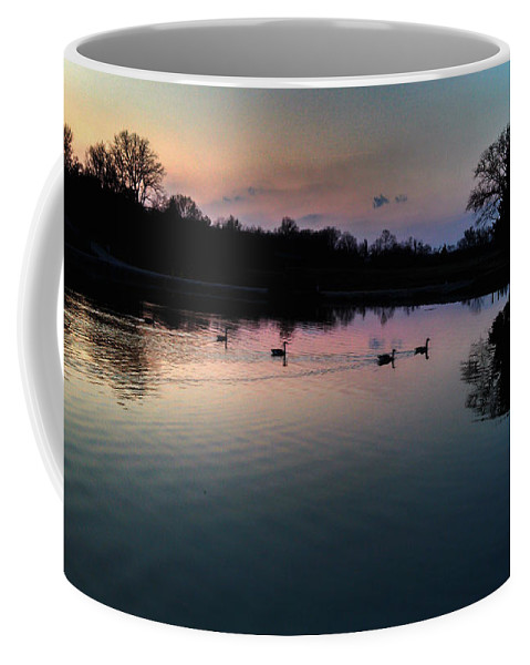 Landscape Coffee Mug featuring the photograph Lakeside Sunset Reflections by Peggy Franz