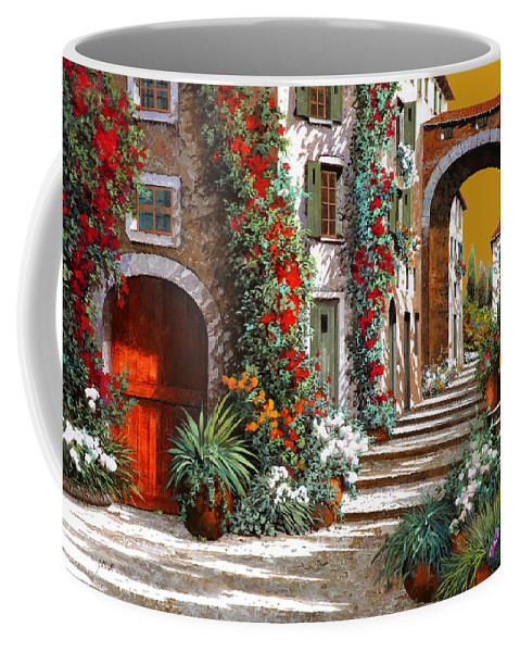 Red Door Coffee Mug featuring the painting L'altra Porta Rossa Al Tramonto by Guido Borelli