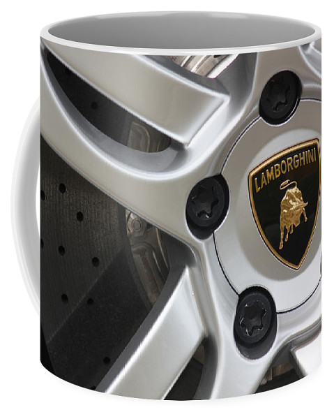 Lamborghini Coffee Mug featuring the photograph Lambowheel8679 by Gary Gingrich Galleries