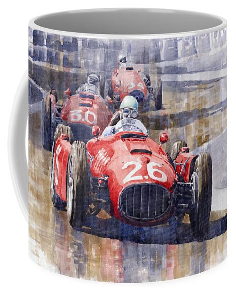 Watercolour Coffee Mug featuring the painting Lancia D50 Monaco Gp 1955 by Yuriy Shevchuk