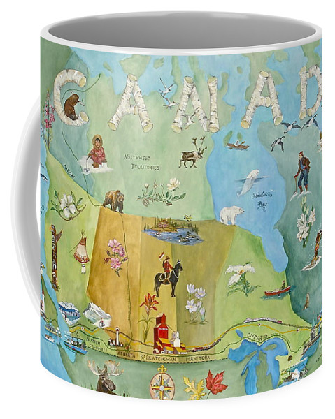 Canada Map Paintings Coffee Mug featuring the painting Land Of The Silver Birch by Virginia Ann Hemingson