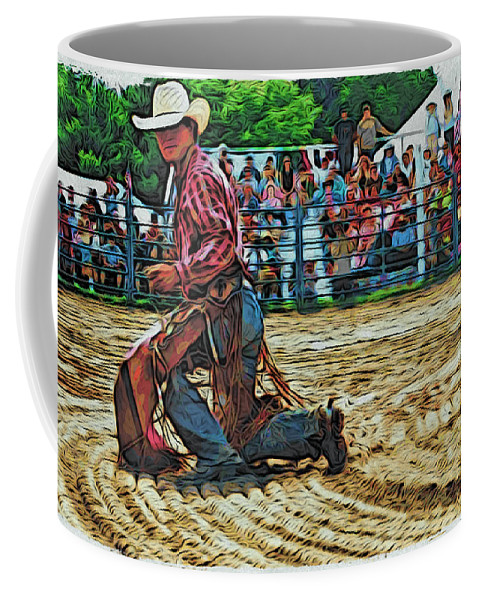 Bullrider Coffee Mug featuring the photograph Landing Like A Cat by Alice Gipson