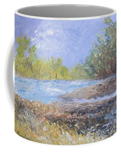 Landscape Coffee Mug featuring the painting Landscape Whit River by Maria Karalyos