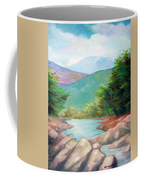 Bayou Coffee Mug featuring the painting Landscape With A Creek by Sergey Bezhinets