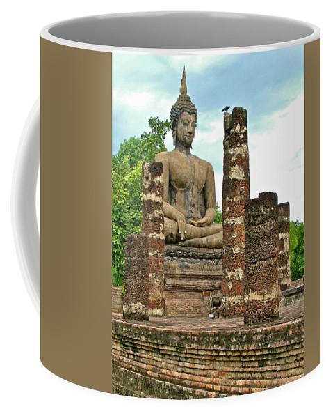 Large Sitting Buddha At Wat Mahathat In 13th Century Sukhothai Historical Park Coffee Mug featuring the photograph Large Sitting Buddha At Wat Mahathat In 13th Century Sukhothai H by Ruth Hager