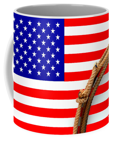 American Coffee Mug featuring the photograph Lasso And American Flag by Olivier Le Queinec