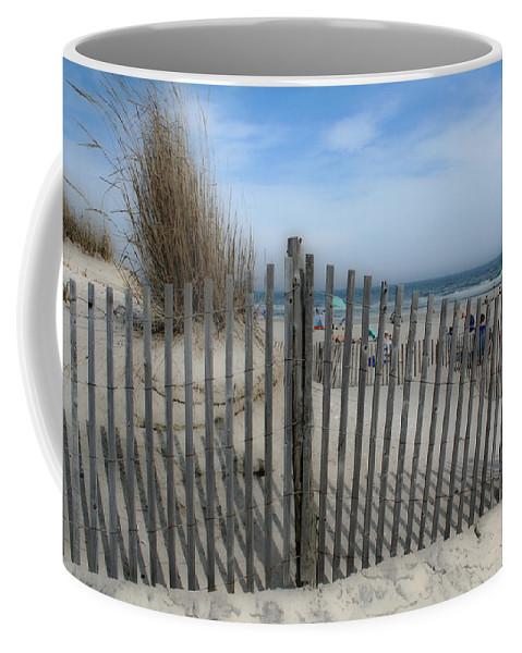 Landscapes Beach Art Sand Art Fence Wood Sky Blue Summertime Ocean Coffee Mug featuring the photograph Last Summer by Linda Sannuti