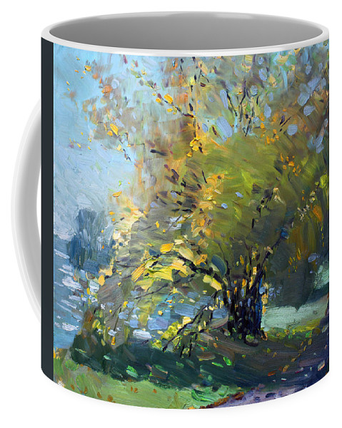 Fall Coffee Mug featuring the painting Late Afternoon By The River by Ylli Haruni