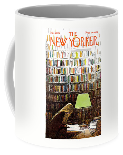 Library Coffee Mug featuring the painting New Yorker March 3, 1973 by Arthur Getz
