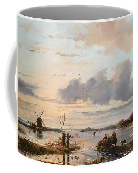 Windmill Coffee Mug featuring the painting Late Winter In Holland by Nicholas Jan Roosenboom