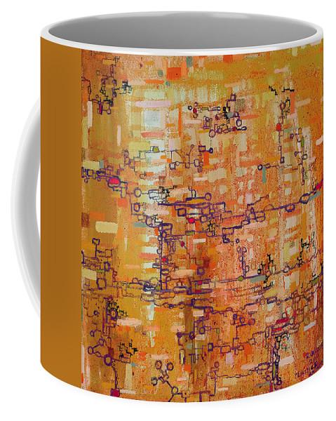 Lattice Coffee Mug featuring the painting Lattice Animals Abstract Oil Painting By Regina Valluzzi by Regina Valluzzi