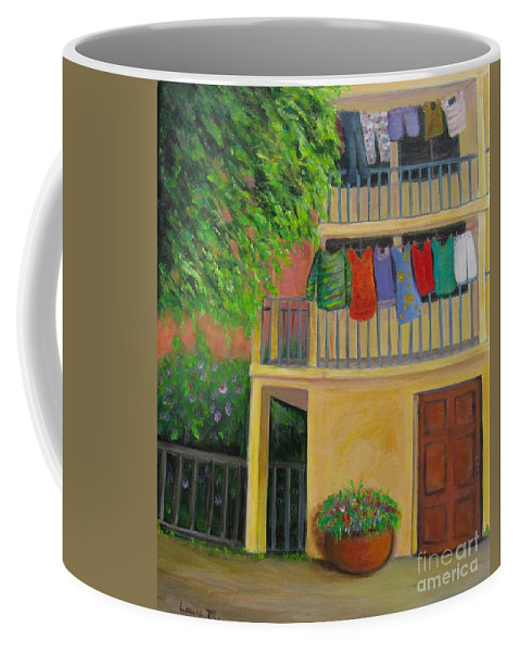 Laundry Coffee Mug featuring the painting Laundry Day by Laurie Morgan