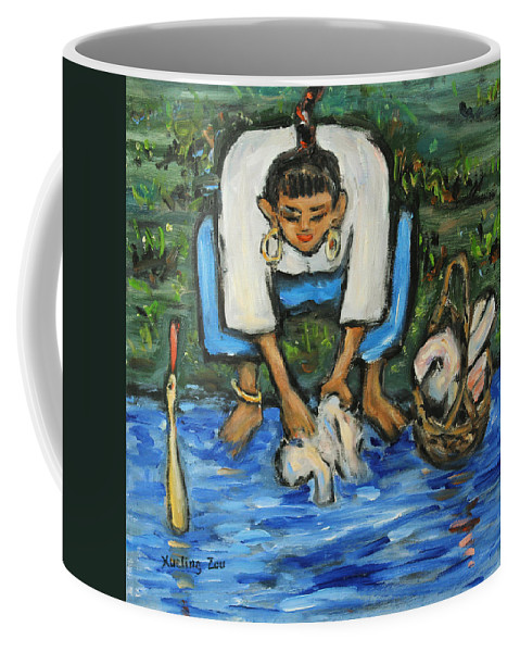 Figurative Coffee Mug featuring the painting Laundry Girl by Xueling Zou