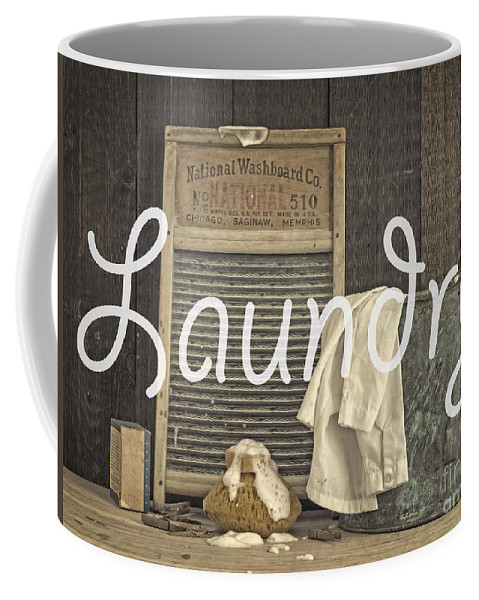Laundry Coffee Mug featuring the photograph Laundry Room Sign by Edward Fielding