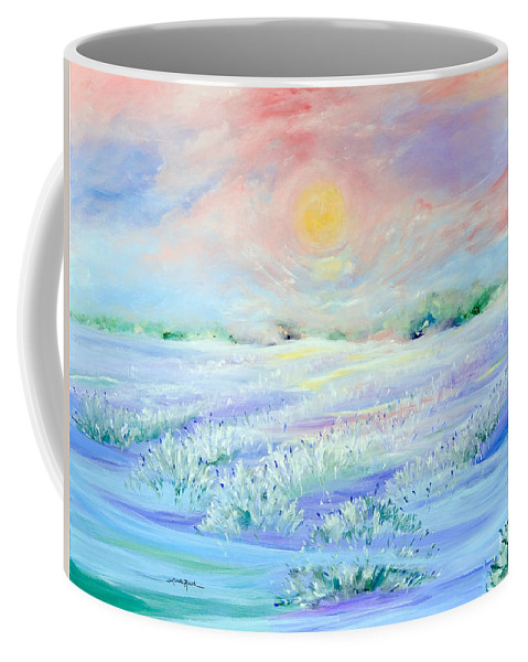 Landscape Coffee Mug featuring the painting Lavender Fields by Linda Rauch