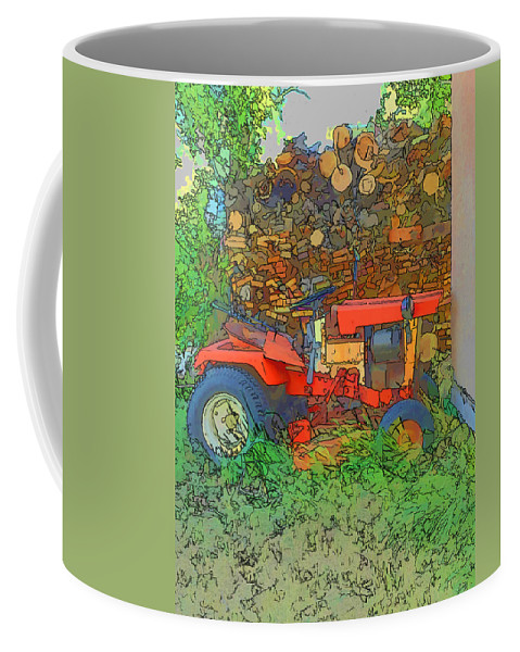 Lawn Tractor Coffee Mug featuring the photograph Lawn Tractor And Wood Pile by Cathy Anderson