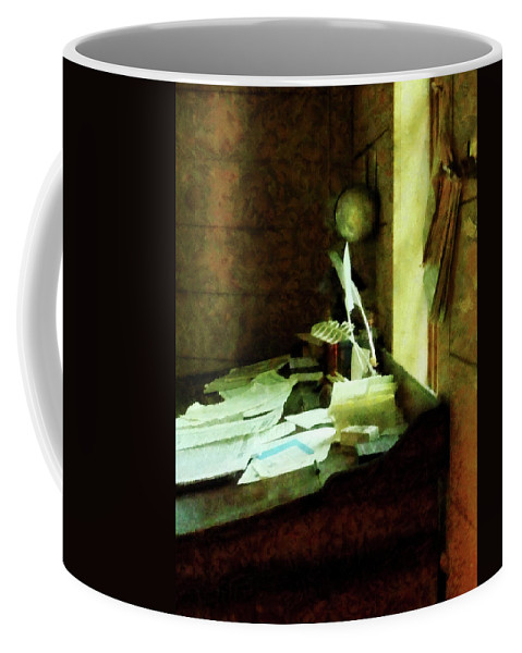 Lawyer Coffee Mug featuring the photograph Lawyer - Desk With Quills And Papers by Susan Savad