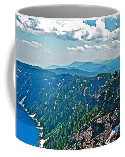 Layers Of Mountains From Watchman Overlook In Crater Lake National Park Coffee Mug featuring the photograph Layers Of Mountains From Watchman Overlook In Crater Lake National Park-oregon by Ruth Hager