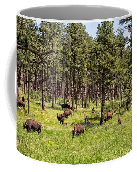 Landscape Coffee Mug featuring the photograph Lazily Grazing Bison by John M Bailey