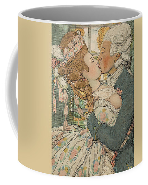 Somov Coffee Mug featuring the drawing Le Baiser by Konstantin Andreevic Somov
