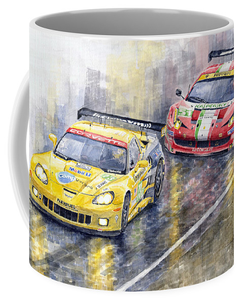 Watercolor Coffee Mug featuring the painting 2011 Le Mans Gte Pro Chevrolette Corvette C6r Vs Ferrari 458 Italia by Yuriy Shevchuk