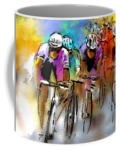 Sports Coffee Mug featuring the painting Le Tour De France 03 by Miki De Goodaboom